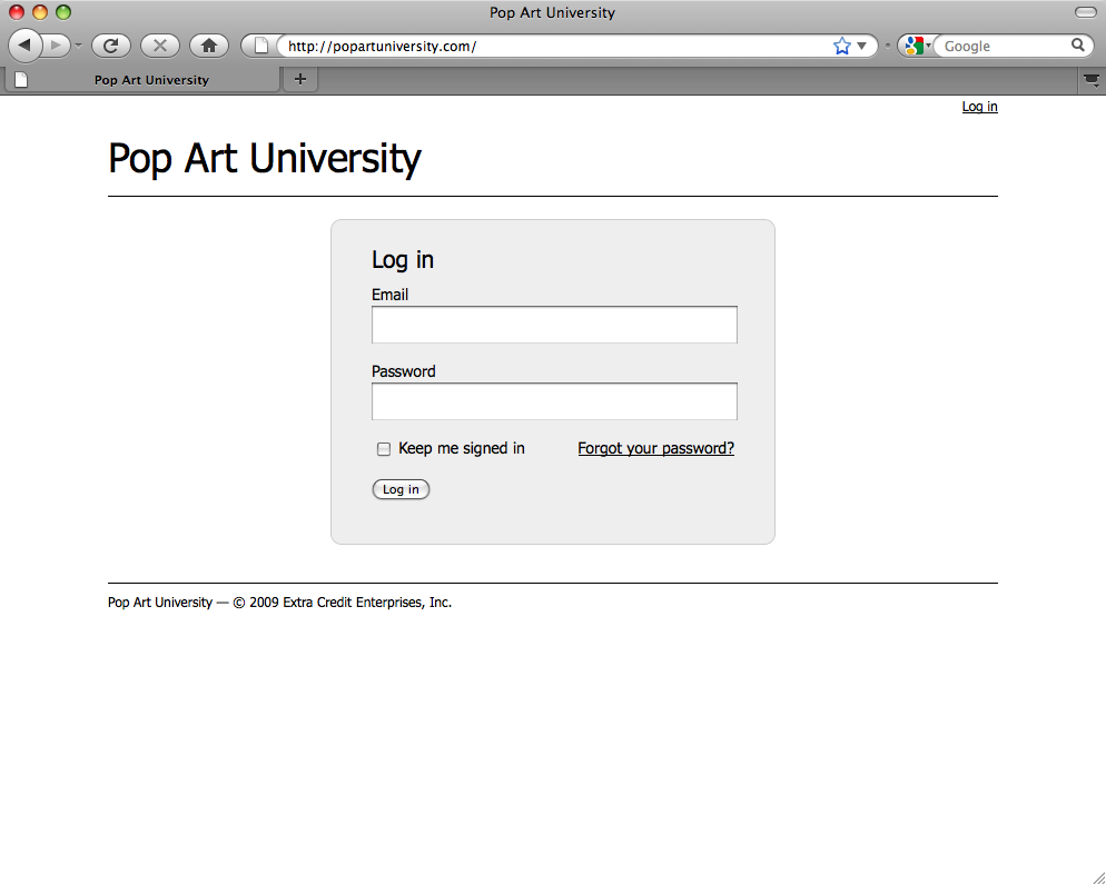 The Pop Art University mainpage has simply no contact information on it.