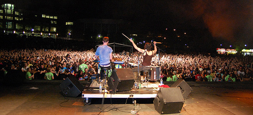 Matt and Kim playing at the Last Stop Music Festival last semester