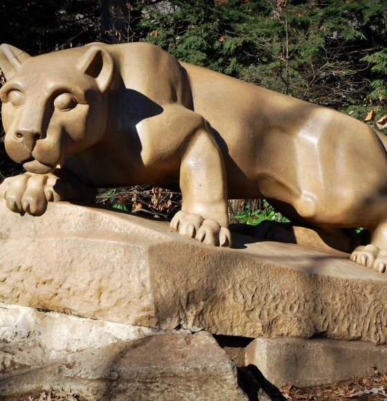 Penn State University students pose nude with Nittany Lion