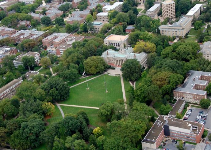 Central campus, with the Old Main lawn in the center, as seen from a helicopter