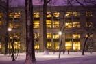 Paterno Library illuminated at night