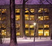 Paterno Library illuminated at night