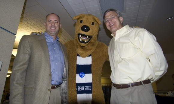 Ed DeChellis Tim Curley and Nittany Lion