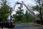Honor guard hoist American Flag outside Pasquerilla Center