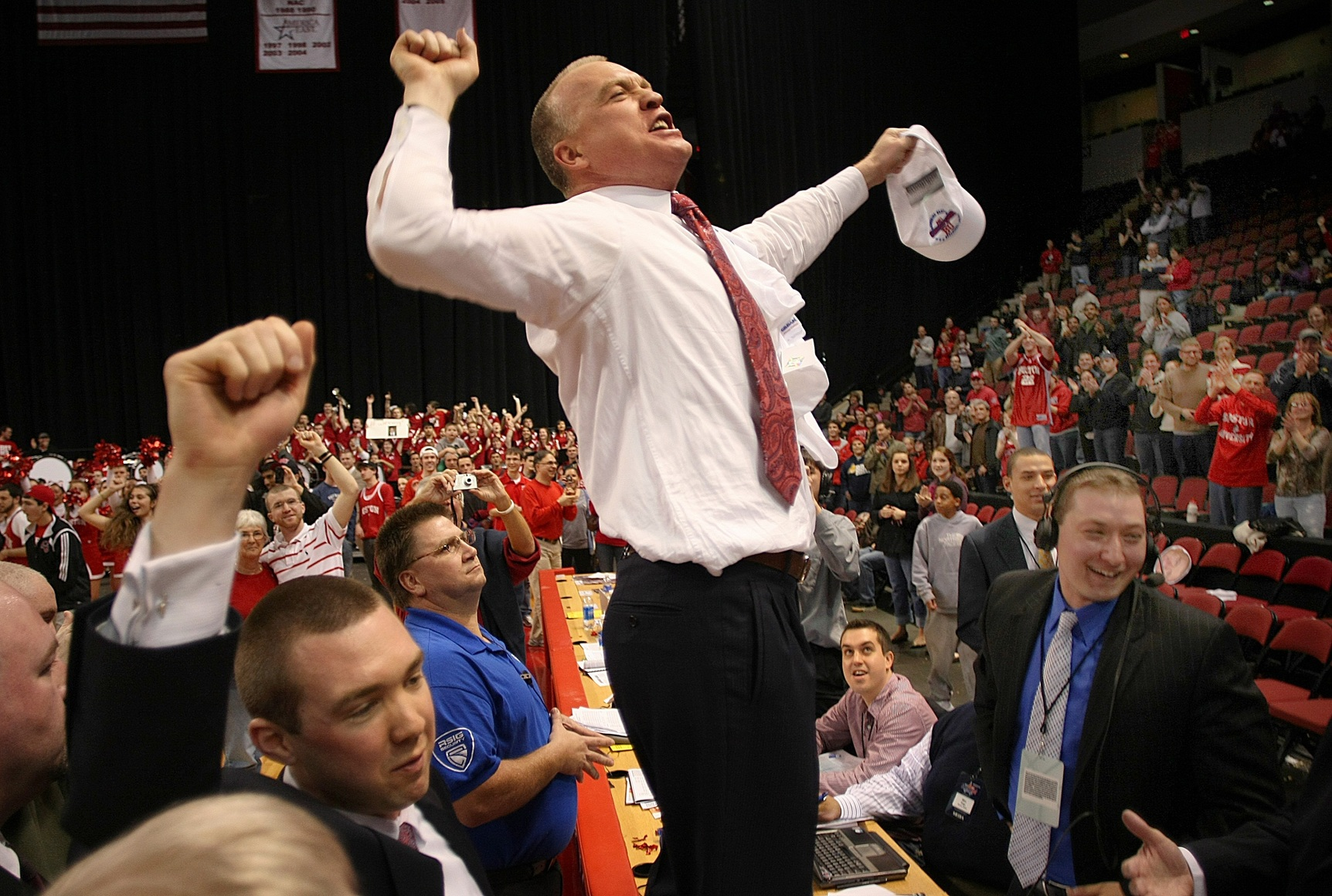 Patrick Chambers Jumps After BU Beat Stony Brook, Gettying A Trip To NCAA Tournament