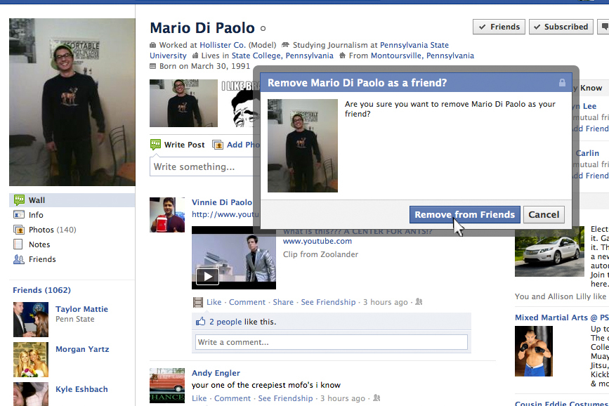 mario facebook page screenshot