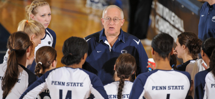 Head Coach Russ Rose with his team between sets.Photo by Mark Selders