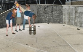 Keg Stand at Joe Paterno Statue