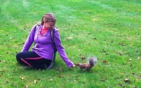 mary feeding squirrel