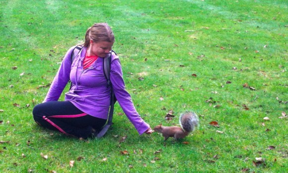 mary feeding squirrel