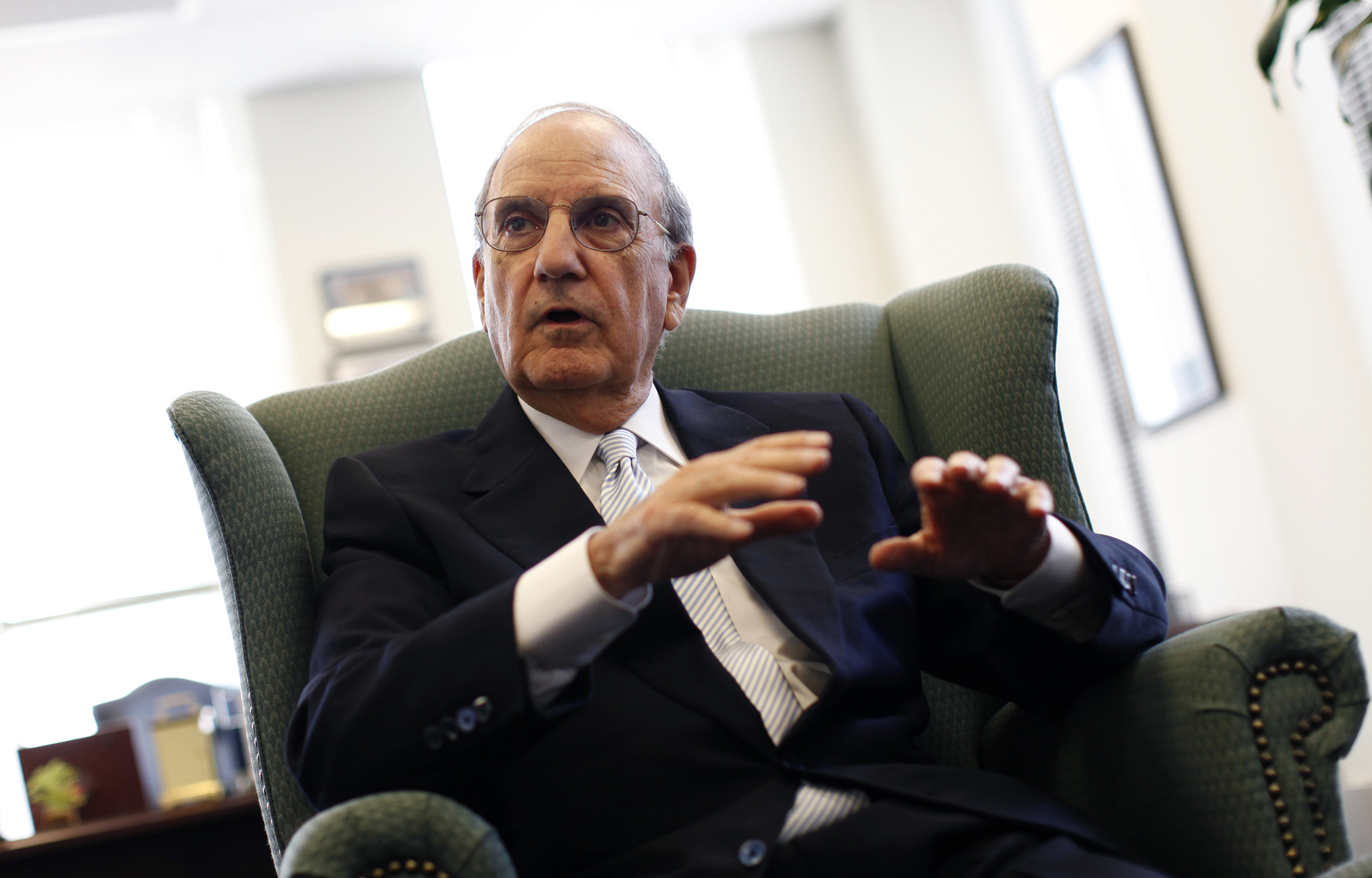 Former US Special Envoy for Middle East Peace and U.S. Senator from Maine George Mitchell in his office at DLA Piper, a law firm in New York during an interview with Reuters