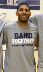 "D.J. Newbill wearing the ""band together"" shirt that will be available at the Jordan Center."
