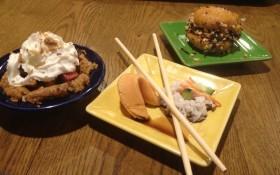 Makeshift apple pie, sushi, and ice cream whoopie pie.