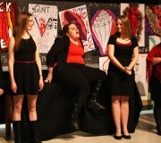 Cassandra LaBar (center) preforms in The Vagina Monologues. (Photo by Haley Blazer)