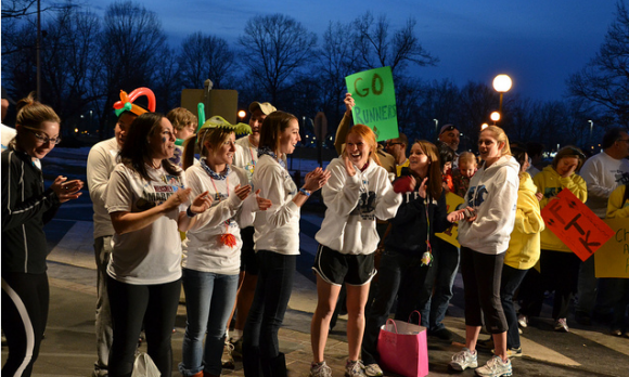 Moralers wait to cheer on runners during The Hope Express