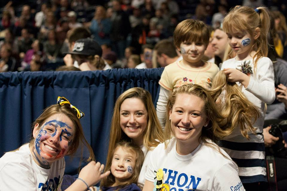 FR captains hang out with THON children while enjoying Penn State's game against Purdue. (Photo by: Bobby Chen)