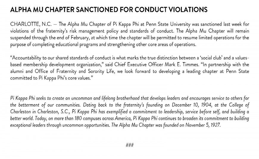 pi kappa phi sanctioned by national fraternity following hazing