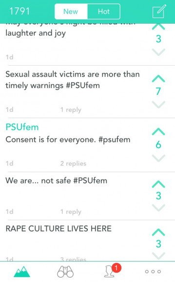 "For two hours, the group posted hundreds of Yaks that read ""Stand in  solidarity with victims of sexual assault and rape #PSUfem,"" or ""1 in every  4 women ..."