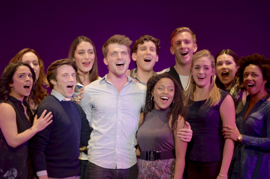 "Musical Theatre student Johnny Link sings ""Being Alive,"" accompanied by other seniors."
