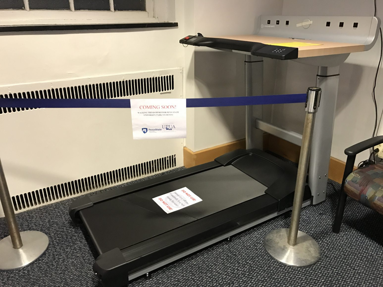 treadmill desk campus rec gym white