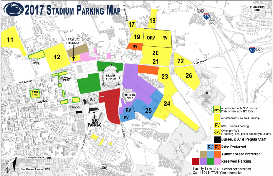 Penn State Football Parking Map Yellow Lot 12, Other Football Parking Lots Closed For Saturday Due  Penn State Football Parking Map