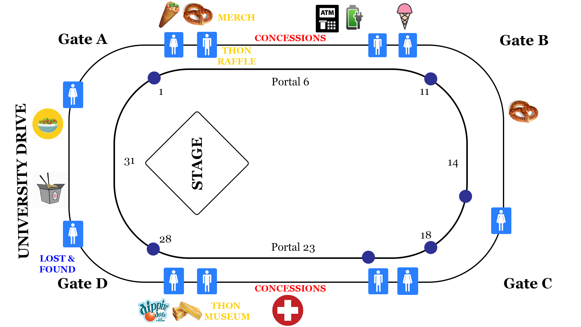 Your Portal By Portal Guide To THON 2018 | Onward State on map of arco arena, map of van andel arena, map of seven springs mountain resort, map of fitzgerald theater, map of verizon wireless arena, map of la sports arena, map of mgm grand garden arena, map of york fair, map of burton coliseum, map of germain arena, map of ppl park, map of john paul jones arena, map of bramlage coliseum, map of pinnacle bank arena, map of time warner cable arena, map of value city arena, map of blue cross arena, map of delaware state fair, map of matthew knight arena, map of first niagara pavilion,